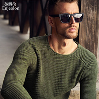 Enjeolon Brand Winter O Neck Knitted Pullover Sweaters Man Solid Green Grey 2 Color Clothing Man