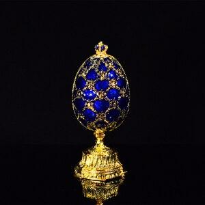 Image 1 - QIFU Handwerk Faberge Ei mit Schöne Kleine Burg Metall Geschenk