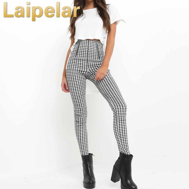Laipelar 2018 Gray White Plaid Pants Sweatpants Women Side Stripe Trousers Casual Cotton Comfortable Elastic Pants Joggers in Pants amp Capris from Women 39 s Clothing
