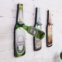 Wall Bottle Opener American Vintage Beer Opener Wall Mounted Wood Cap Catcher Creative Bar Wall Decorative