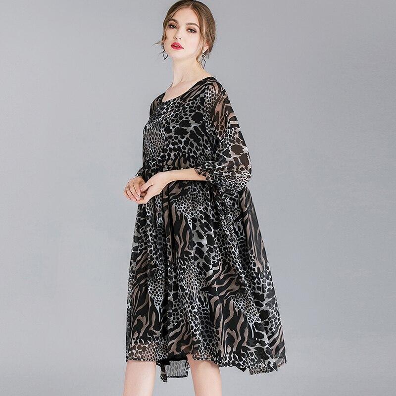 Femme Moitié Taille Été Lady Lâche Printemps Léopard En Partie La Black Casual Mode Mousseline white Soie Femmes 2019 De Plus Manches Robe Imprimé Robes 8nOP0XNwk