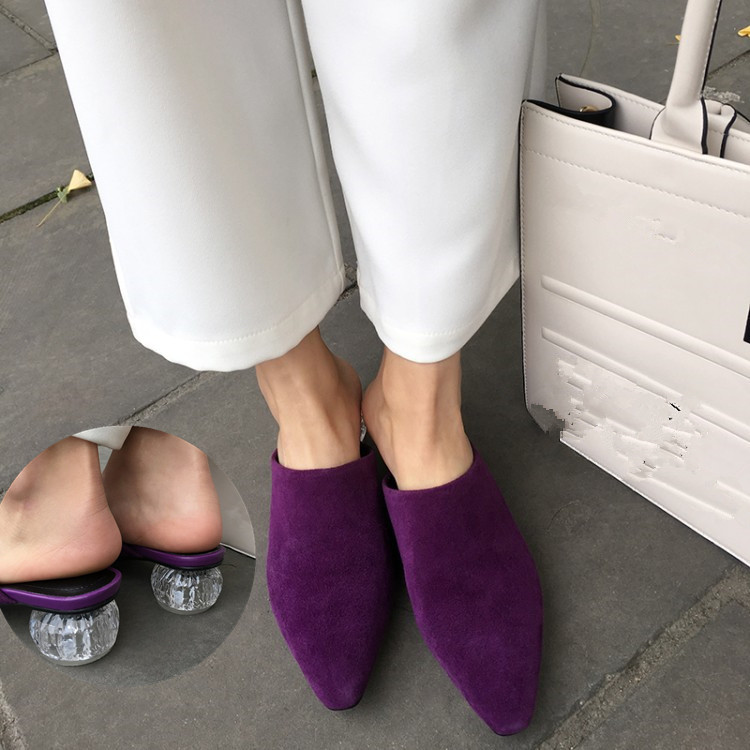 PXELENA Women Mules Shoes Crystal Strange Med Heel Real Kid Suede Slides Ladies Party Dress Date