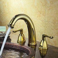 8 3 holes Widespread Mixer Tap 2 Handle Bathroom Sink Faucet Gold/Chrome/Antique Black ORB
