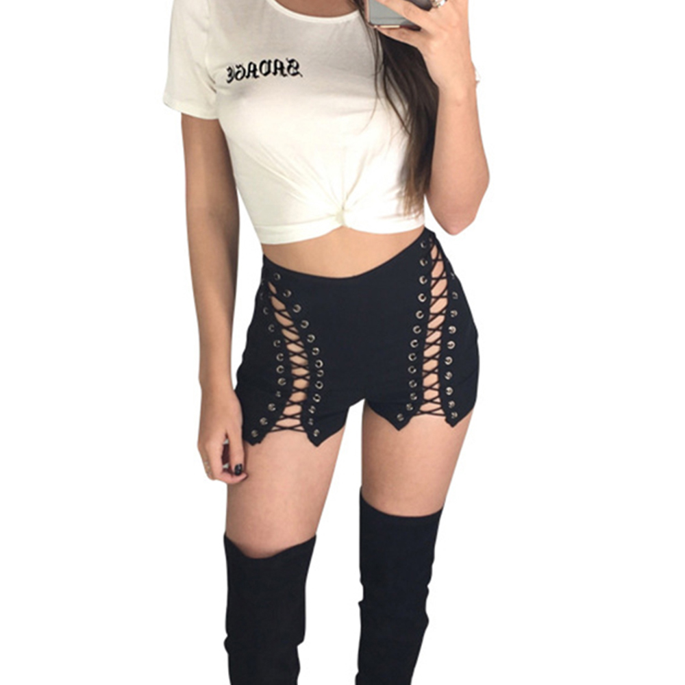 High Waist BLACK WHITE Shorts Women Hollow Out Bandage Short Feminino 2017 Summer Sexy Hot Bottom Male Zipper Up Party Trousers