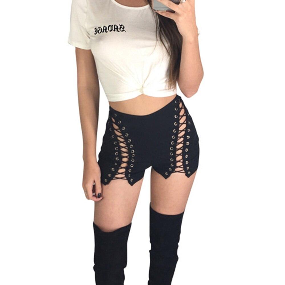 High Waist BLACK WHITE   Shorts   Women Hollow Out Bandage   Short   Feminino 2017 Summer Sexy Hot Bottom Male Zipper Up Party Trousers