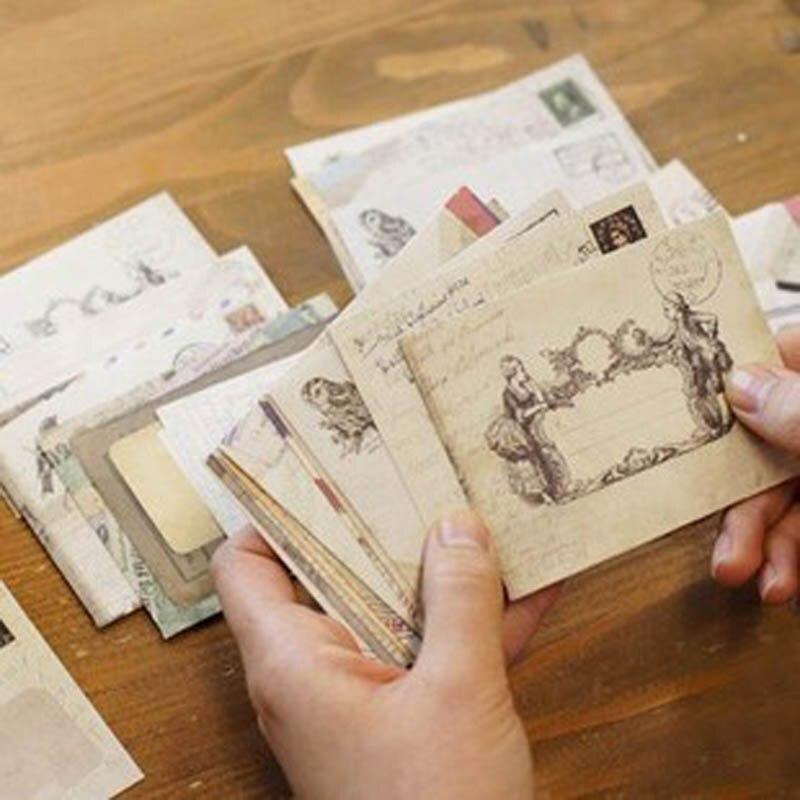 60 Pcs/Set Vintage Small Mini Kraft Paper Window Colorful Envelopes Decorative Envelopes Wedding Invitation Envelope Gift Enve