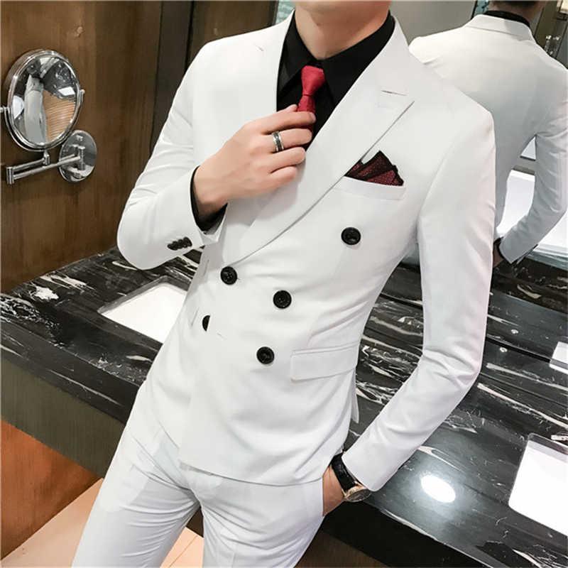 アジアサイズのメンズスリムフィットダブルブレストスーツセット 3 ピースメンズ結婚式のスーツ宴会デザインスーツ広州サプライヤー