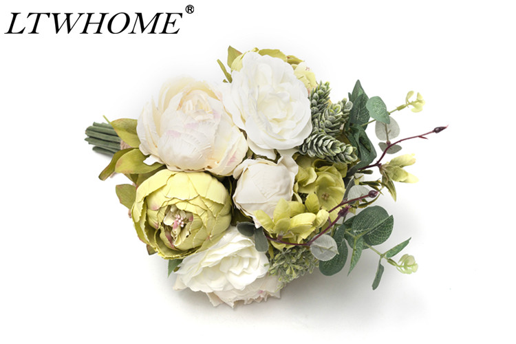 LTWHOME AFGW Artificial Flowers Silk Bouquet with Green Peony, Hydrangea, Succulent for Home Hotel Wedding Decoration