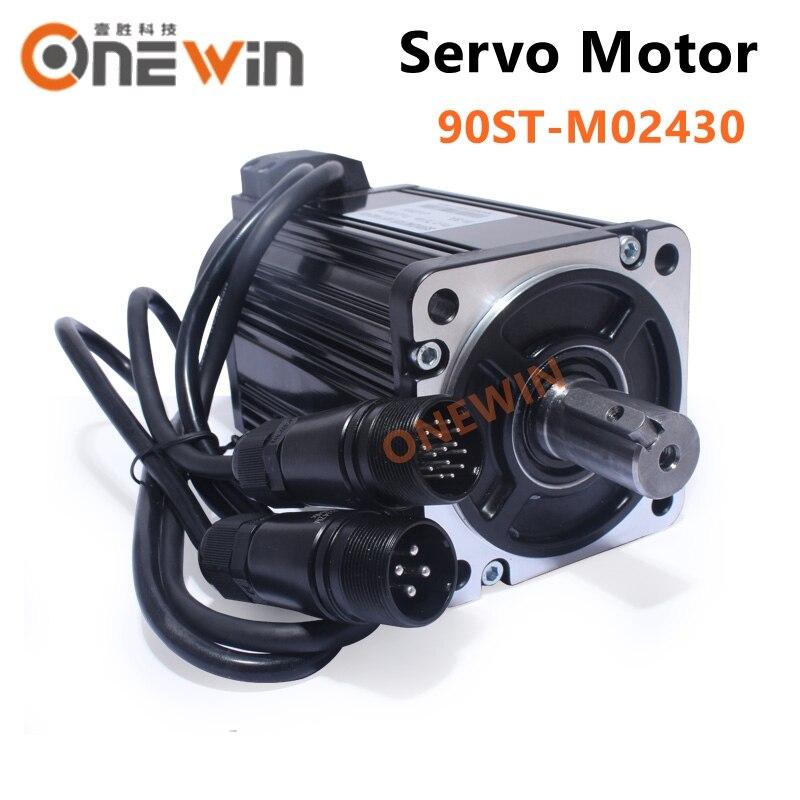 90ST-M02430 750W 220V AC servo motor driver kit 3000rpm 2.4N.m permanent magnet