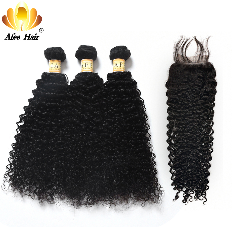 Aliafee Hair Kinky Curly Hair Bundles With Closure Non Remy Hair Weave Malaysia Kinky Curly 3 Bundles Deal With Closure