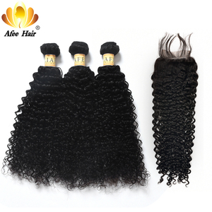 Aliafee Hair Kinky Curly Hair Bundles With Closure Non Remy Hair Weave Malaysia Kinky Curly 3 Bundles Deal With Closure(China)