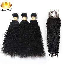Aliafee hair 킨키 컬리 헤어 번들 (closure non remy hair weave) 말레이시아 킨키 컬리 3 번들 (closure with closure)