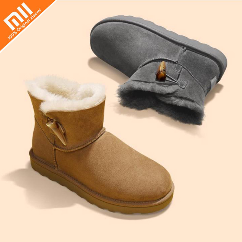 xiaomi sheep fur one horn buckle snow boots ladies leather wool material waterproof water warm shoes Smart Remote Control