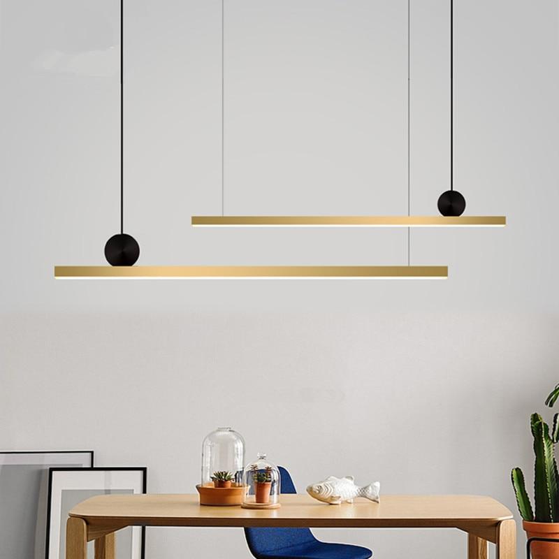 Nordic Pure Copper Led Chandelier Modern Design Long Strip Living Room Dinner Hotel Hall Dinner Light