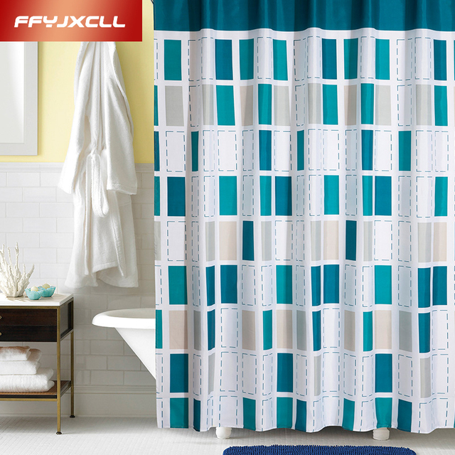 Multi Size Modern Simple Plaid Bathroom Shower Curtains Products