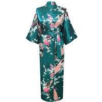 Большой 3XL Новый Drak зеленый для свадьбы, невесты, подружки невесты халат атлас, искусственный шелк пижама-халат для женщин кимоно одежда для ...