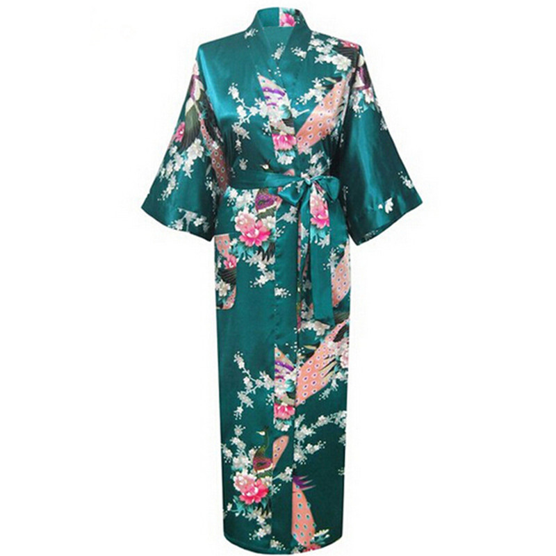 Oversize 3XL Neue Drak Grün Hochzeit Braut Brautjungfer Robe Satin Rayon Bademantel Nachthemd Für Frauen Kimono Nachtwäsche Blume