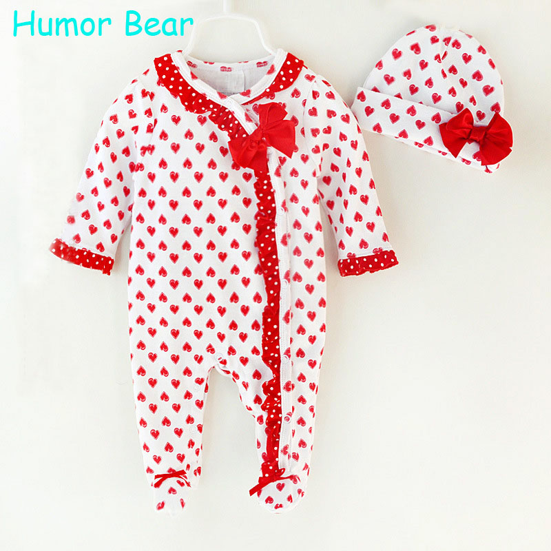 Humor Bear Christma Love Baby Girl Clothes Bow Romper Clothing Set Jumpsuit Hat 2PC Cute Infant