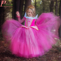 New 2016 Princess Dress Girls Sleeping Beauty Dress Princess Aurora Pink Kids Dress For Party Wedding