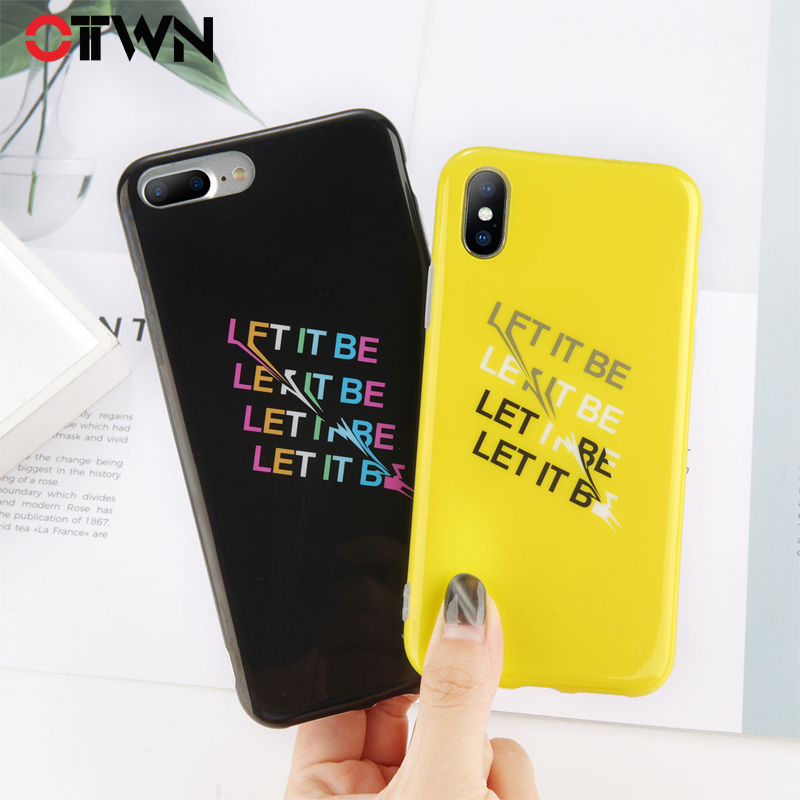 Ottwn Phone Case For iphone X 8 7 6 6S Plus English Letter LET IT BE Pattern Plain Solid Shell Simple Soft IMD Back Cover Cases