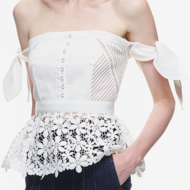 3e125c2a7b7bf 2016 Women Summer Tops Self Portrait Corset Boho Top Crochet Tunic Shirt  Kimono Lace White off Shoulder Blouse Ladies Tops