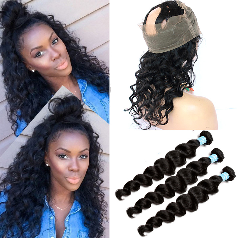 360 Lace Frontal With Bundle Brazilian Virgin Hair With