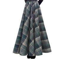 Envío Libre 2018 de La Nueva Manera Maxi Largo Grueso A-line Faldas para Las Mujeres Cintura Elástica Faldas de Lana A Cuadros de Invierno Caliente Con bolsillo