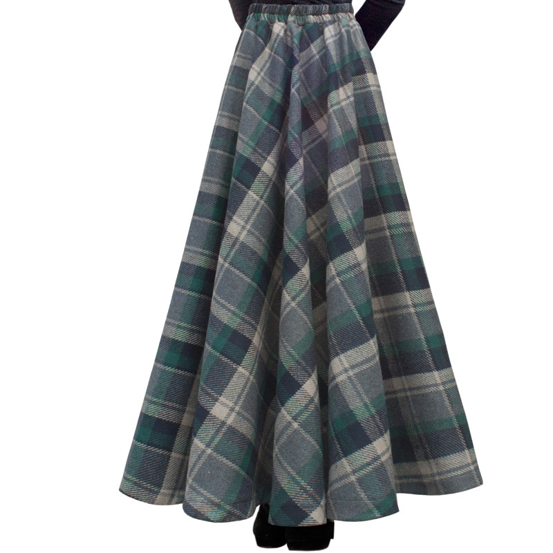 Free Shipping 2018 New Fashion Long Maxi Thick A-line Skirts For Women Elastic Waist Winter Plaid Woolen Skirts Warm With Pocket