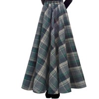 Free Shipping 2018 New Fashion Long Maxi Thick A line Skirts For Women Elastic Waist Winter Plaid Woolen Skirts Warm With Pocket