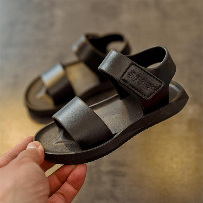 sandals For Boys 2018 summer new childrens sandal 1-6 years old simple boy beach shoes black and white shoe wholesale 21-25 ...
