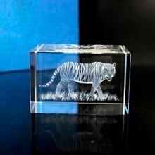 3D лазерный гравированные кубические K9 с украшением в виде кристаллов тигр изображение, скульптура белый сувенир «сделай сам» ремесла