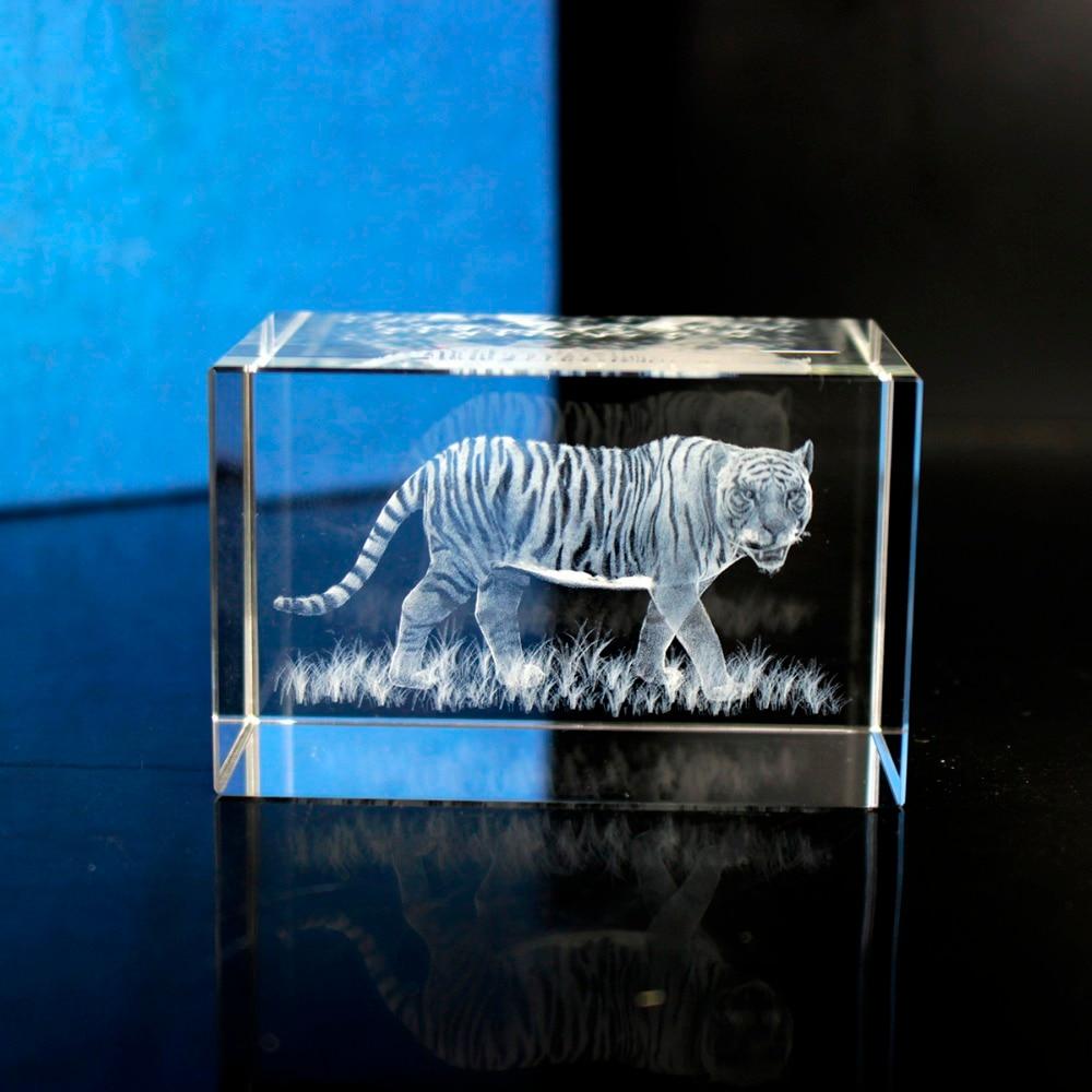 3D Laser Engraved Cube K9 Crystal Tiger Image Sculpture White DIY Souvenir Crafts|Statues & Sculptures|Home & Garden - title=