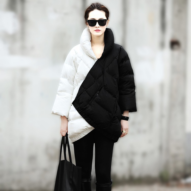 2014 Winter Coat Women New European Fashion Week Catwalk Long Section Black And White Mix Color Pregnant Thick Warm Down Jacket