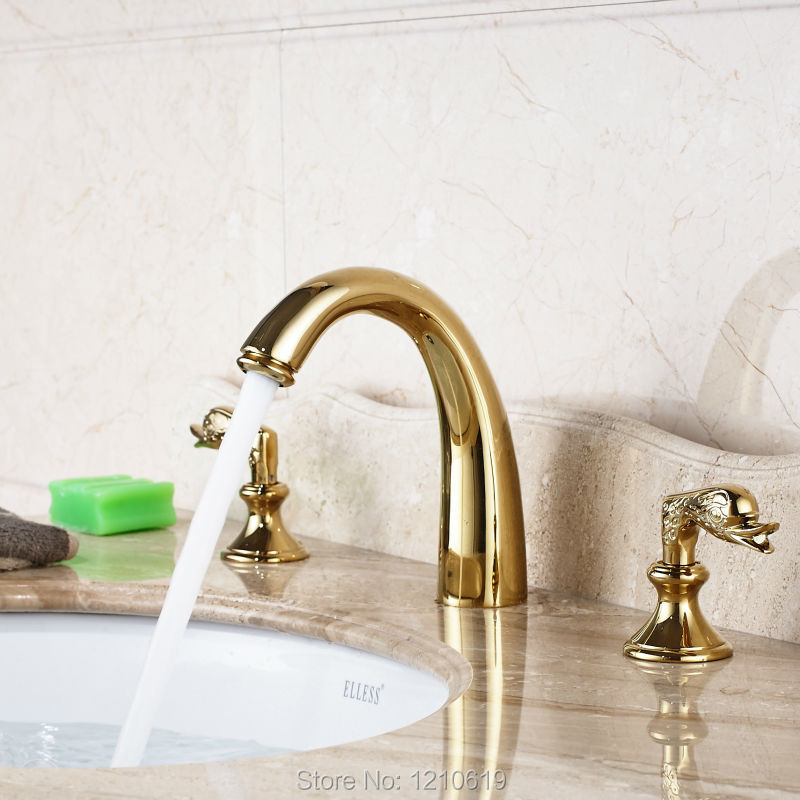 Uythner Newly Luxury Gold Plate Basin Faucet Mixer Tap Deck Mounted Bathroom Sink Faucet Dual Handles Three Holes newly nickle brushed double handles three holes bathroom sink vessel faucet waterfall spout basin faucet mixer tap deck mounted