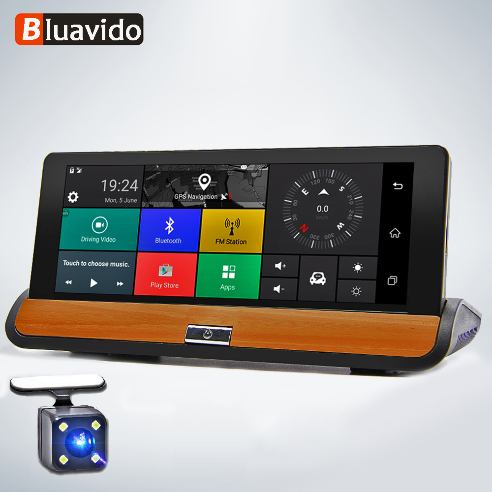 Bluavido 7 Polegada 4g adas android painel do carro dvr gps navegação fhd 1080 p lente dupla traço câmera g sensor gravador de vídeo do carro