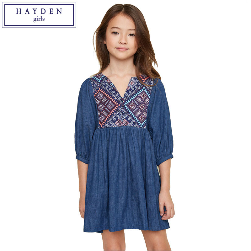 HAYDEN Vintage Denim Dress for Girls Children Bohemian Dress Girl Kids Lantern Sleeve Pleated Dresses Teenagers Clothing 2017 vintage lantern sleeve plaided ruffle pleated blouse