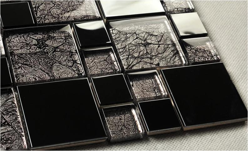 Zwarte Tegels Badkamer : Zwart hars glasmozaïek korte en lange strip tegels voor badkamer