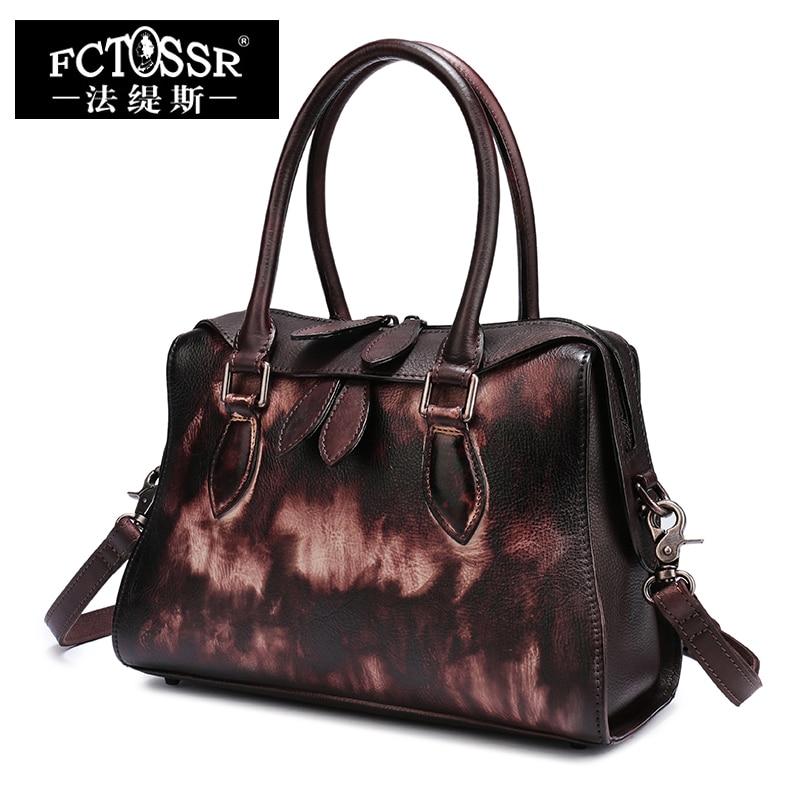Tote Bag for Women 2018 Latest Genuine Leather Handbags Vintage Handmade Shoulder Crossbody Top-handle Bags Messenger