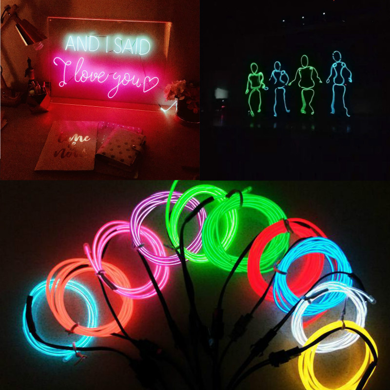 Waterproof 1M/2M/3M/4M/5M LED Strip Light Neon Light Glow EL Wire Rope Tube Cable+Battery Controller For Car Decoration Party