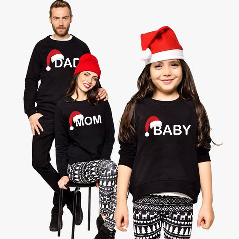 Family matching outfits Mother and Daughter Clothes Dad Mom Baby Printed For Christmas Sweatshirt wholesale baby winter clothing цены онлайн