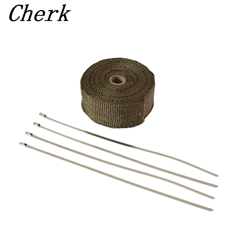 5M Titanium Exhaust Heat Wrap Roll Cable Pipe Tape 5cm Heat protection With 4 Stainless Ties Kit