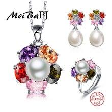 [Meibapj] 925 sterling silver charm joyería del banquete de boda 2016 nuevo de la manera fina flor de la perla de la joyería para las mujeres