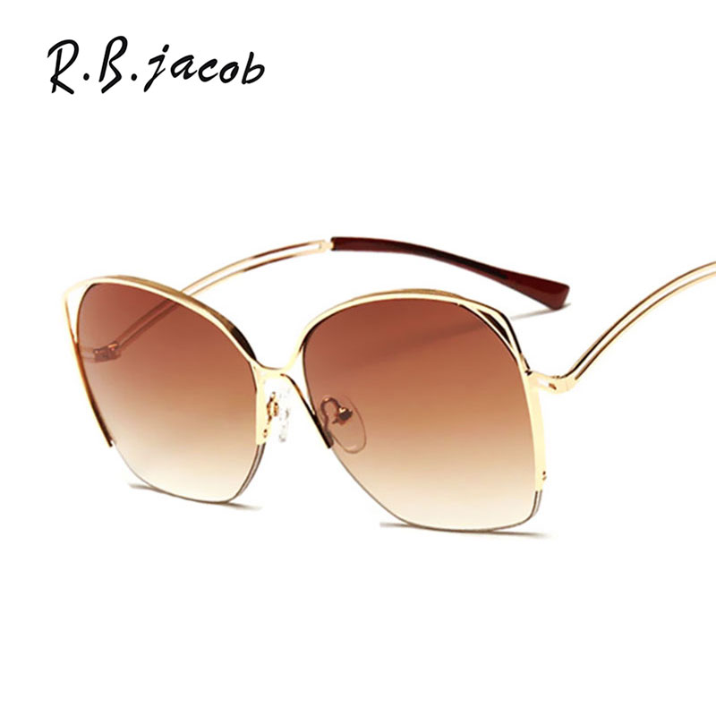 Hot Luxury Female Sun glasses Oversized 2017 Fashion Cat Eye Women Men Sunglasses Brand Designer Classic Metal Pilot Mirror