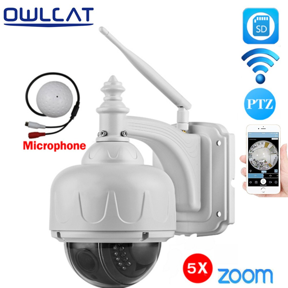 OwlCat Wireless WiFi IP Camera PTZ Onvif Dome Outdoor HD 1080P 960P SD Card 128G 5X Optical Zoom with External Microphone Audio hd 720p owlcat onvif wifi dome ip camera home video surveillance smart dome ir cctv network security camera support 128g sd card