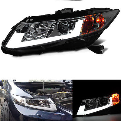 1Pair Headlight +Glass Lens+Xenon+LED Guiding For Honda Civic 2012-2015 birren guiding autobiography groups for older adults