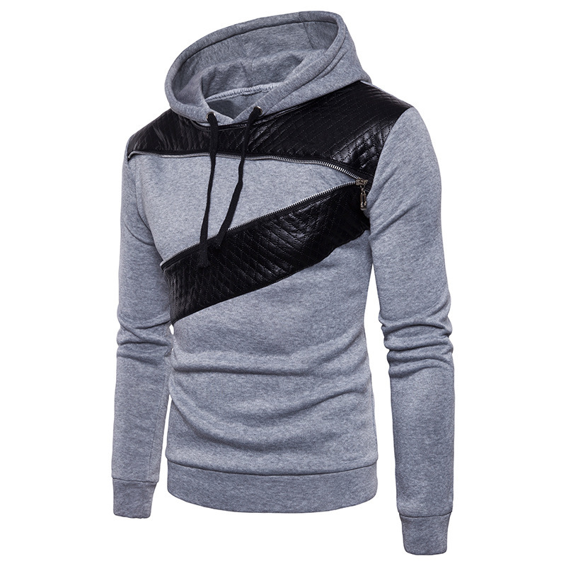 Autumn winter mens fashion hooded zipper decorative slim round neck long sleeves hoodies pullover hoodie men casual tops 2colour