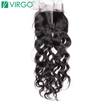 Virgo Hair Company Middle Part Lace Closure Water Wave Medium Brown Color Lace With Baby Hair 100% Remy Human Hair Free Shipping