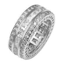 Изысканный Белый Кристалл Циркон Стерлингового Серебра 925 Хорошее Качество Красивые Ювелирные Изделия Кольца Размер 6 7 8 9 10 11 F1558