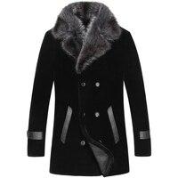 Большой размер 5XL зимняя верхняя одежда из овечьей шерсти мужская меховая цельная куртка мужская длинная норка меховой воротник из натурал