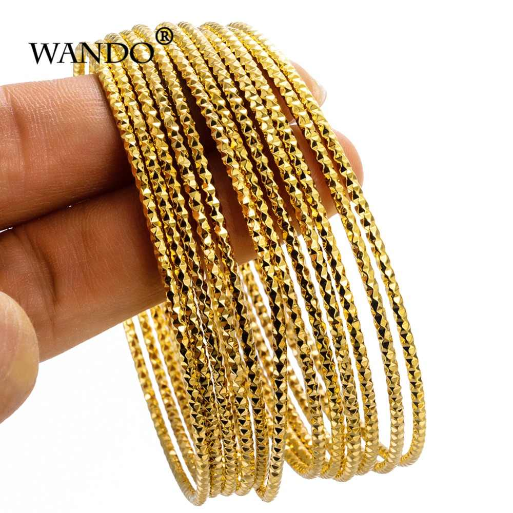 WANDO 6pcs/lot Dubai Party Gold Color Bangle & bracelets Women Decoration Bangle African Ethiopian Jewelry Wholesale wb123